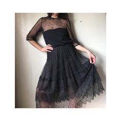Vintage Black Swiss Dot Sheer Dress - Edwardian Style Ruffled Skirt Black Lace Dress - Illusion Top Mid Sleeve Cocktail Dress