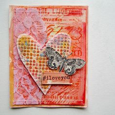 """Distress Paint """"I Love You"""" Valentine's Day By Mou Saha - Ranger Ink and Innovative Craft Products"""