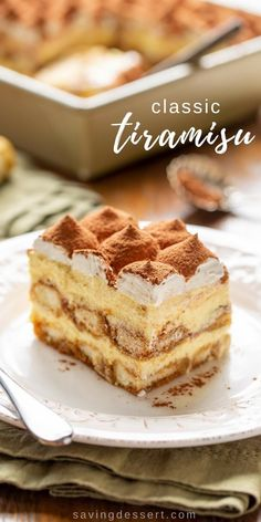 Try this delicious Tiramisu recipe for your next dinner party! You don't have to be Italian to enjoy this coffee-flavored dessert with a little something extra from the Kahlua liqueur. party dessert Classic Tiramisu Recipe - Saving Room for Dessert Best Dessert Recipes, Easy Desserts, Sweet Recipes, Cookie Recipes, Delicious Desserts, Desserts For Dinner Party, Dinner Dessert, Lunch Recipes, Healthy Recipes