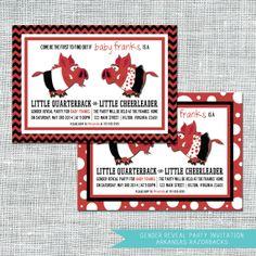 Arkansas Razorbacks Gender Reveal Party Invitation | $12.00 | Digital File | Amanda Franks Designs