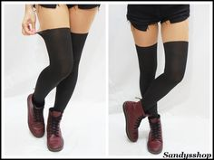 """Over+Knee+Mock+Tights/+Stockings/+Pantyhose+-Opaque One+Size+ hip:+33.5-40.5""""+(85-103cm)+ height:+4'11""""-5'74""""+(150cm~175cm) (with+no+paper+package)"""