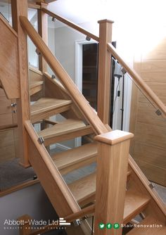 Open tread oak and glass staircase.
