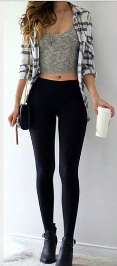 crop top+plad shirt+black tights. don't forget the starbucks and black purse.