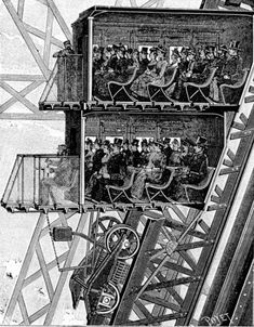 Contemporary illustration of the third level lifts in the Eiffel Tower. Poyet, published in La Nature, May vol. Tour Eiffel, Monuments, Gustave Eiffel, Construction, World's Fair, Historical Photos, Louvre, Tower, Arquitetura