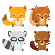 Happy Forest Animals Royalty Free Stock Vector Art Illustration