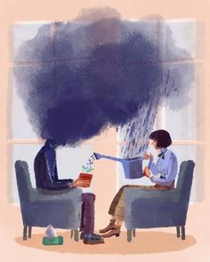 Beautiful illustration and the perfect metaphor from on therapy. Beautiful illustration and the perfect metaphor from on therapy and mental health. ・・・ Today talks about someth Art And Illustration, Art Illustrations, Art Psychology, Psychology Wallpaper, Mental Health Art, Psy Art, Art Inspo, Art Drawings, Art Photography