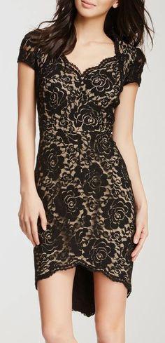 I'd rather have an even hemline but still nice :: Cynthia Steffe Allie Lace Cap Sleeve Dress