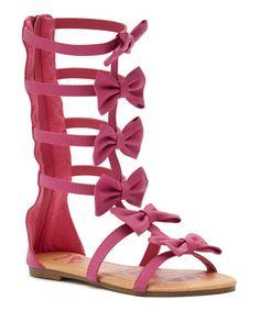 Look at this #zulilyfind! Fuchsia Bow Suzette Gladiator Sandal by Yokids #zulilyfinds