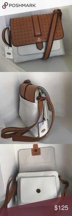"""Fossil Kinley Studded Small Vanilla leather purse New with tags! Fossil """"Kinley"""" small Vanilla and brown leather crossbody purse with bronze stud accents on flap. Fold over flap with snap closure. Back exterior slip pocket. Slip pocket under flap also. Adjustable crossbody strap. zip closure under flap for main compartment. Interior is fabric lined and includes 1 wall slip pocket and 1 zip pocket. Style # ZB6751120. **dust bag not included** measures about 7.5""""H x 8.5""""L x 2.5""""D. Open to…"""
