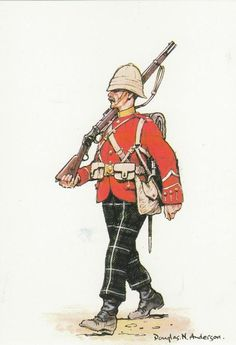 British; 2nd Battalion, Highland Light Infantry, Egypt, 1882 by Douglas N Anderson. Note at this time the 2nd Battalion HLI were still wearing the Lamont tartan trews of the old 74th Regiment.