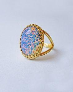 Image of Solstice Vintage Blue Glass Opal Ring