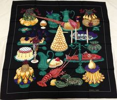 "HERMES MINT ""Gastronomie"" by Christiane Vauzelles Black Silk Scarf 7318 #Hermes #Scarf"