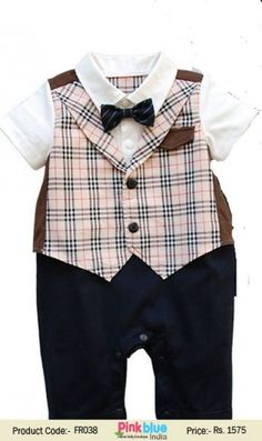 a6a2b126f1dd Baby Boy Wedding Check Romper Bodysuit Suit with Attach Black Bowtie