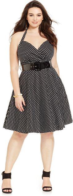 City Chic Plus Size Polka-Dot Sweetheart Halter Dress