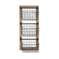 Enhance household organization with the distinctive DecMode Industrial Wood and Iron Basket Wall Rack . This wall rack features a sturdy wood and iron.