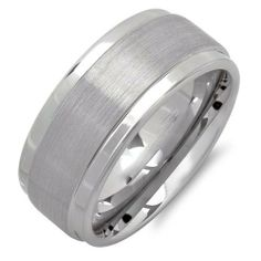 Cobalt Men's Ring Wedding Band 9MM Bushed Finish in Center and Polished Shiny Comfort Fit (Available in Sizes 7 to 12) -