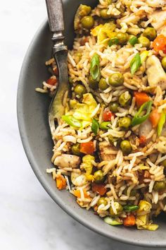 On pan chicken fried rice