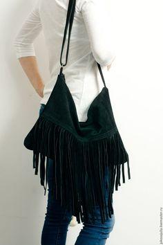 Купить Сумка черная с бахромой из натуральной кожи замши - бахрома, сумку с бахромой, бохо, хобо
