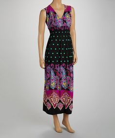 Look what I found on #zulily! Lilac & Black Paisley Surplice Maxi Dress - Women by jon & anna #zulilyfinds