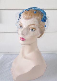 1950s Vintage Blue Lattice Headband Hat with by MyVintageHatShop