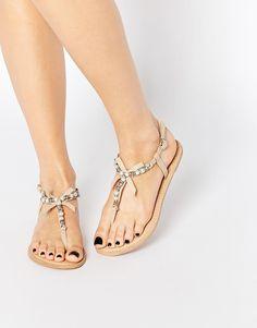 Embellished Bow Leather Sandals
