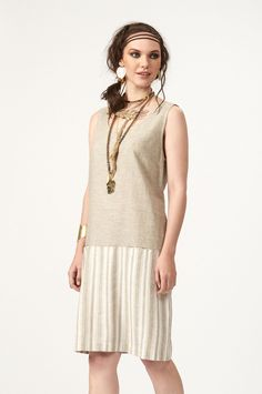 PLS fashion : Φόρεμα με ρίγα (4052) Linen Dresses, Tunic Tops, Women, Fashion, Moda, Fashion Styles, Fashion Illustrations, Woman