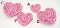 Best heart crochet pattern I've found - easy to work up and looks great.  Wish they would come out a bit bigger, but still great.  From Planet June Craft Blog