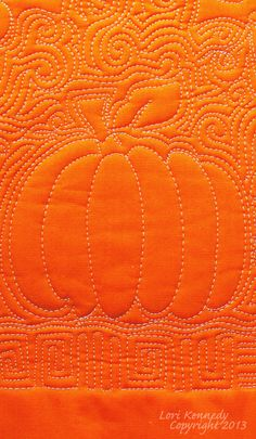 Pumpkin Free Motion Quilting tutorial by Lori Kennedy at The Inbox Jaunt