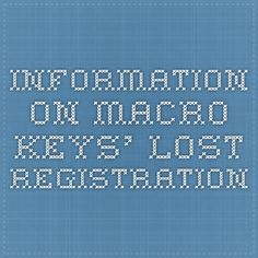 Information on Macro Keys' Lost registration Macro Keys, Naked, Lost, Drink, Unique, Sexy, Youtube, Photography, Free