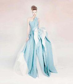 Rami Kadi Couture 2013 collection. One-shoulder silk gazar draped gown.
