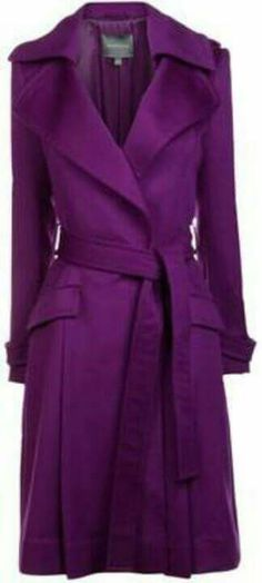 Wool and cashmere blend Maryling tailored trench coat with a front press stud closure. This coat features a buckle fastening waist belt and two front pockets. Purple Trench Coat, Purple Coat, Winter Typ, Tailored Coat, All Things Purple, Purple Stuff, Purple Reign, Purple Fashion, Blazer