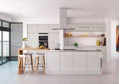 Kitchen Design Online by DOK: Handleless Kitchen Doors Kitchen Units, Kitchen Doors, Kitchen Cupboards, New Kitchen, Kitchen Grey, Kitchen Island, Orange Kitchen, Cheap Kitchen, Wooden Kitchen