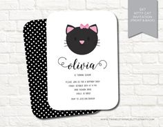 Kitty Cat Birthday Party Printable Digital Invitation