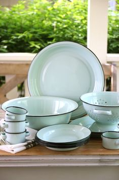 Brought back by popular demand, a favorite from last summer's collection - Robin's Egg Blue Enamelware. Nothing says summer entertaining like enamelware - especially, in this perfect Robin's Egg (better known as Seaside around here) Blue color. It is the perfect lightweight service-ware for using outdoors or on picnics. Every time I use these, I love them even more. Each piece of Enamelware will hold its own characteristics and slight blemishes, due to its casual style. Please see clos...