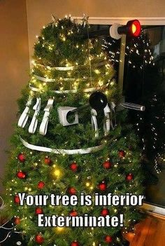 Tree pic Tweeted by John Barrowman <- Is this a mix of a Dalek and the spinning Christmas tree from The Christmas Invasion?!?!