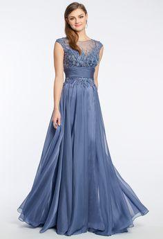 Chiffon Beaded Illusion Prom Dress #camillelavie #CLVprom