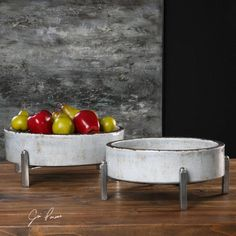 Global Direct Set of 2 Crackled Pale Gray Bowls at Lowe's. Distressed, crackled pale gray ceramic bowls with rust undertones and lightly antiqued silver metal stands. Due to the nature of fired glazes on ceramic, Ceramic Plates, Ceramic Pottery, Ceramic Art, Slab Pottery, Pottery Bowls, Rustic Mirrors, Rustic Wall Decor, Modern Decorative Plates, Grey Bowls