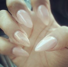 Nude. Glitter. Pointy. Stilettos. Claws. Nails. Long. I love this nail polish! Gel color.