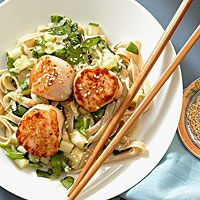 BHG's Newest Recipes:Seared Scallops with Noodle Salad Recipe