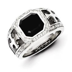 Sterling Silver Diamond & Onyx Black Rhodium-Plated Cross Men's Ring – Sparkle & Jade