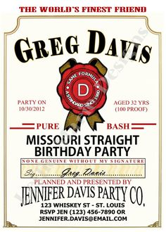 JIM BEAM LABEL Birthday Party Invite  by LeslieMarieDesigns, $15.00