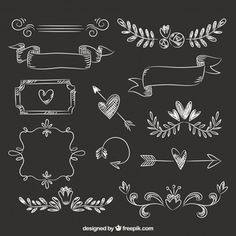 Lettering Set of ribbons, frames and arrows in blackboard style. Free vector How To Wear A Hawaiian Chalkboard Doodles, Chalkboard Lettering, Chalkboard Designs, Chalkboard Frames, Chalkboard Drawings, Diy Album Photo, Album Photo Scrapbooking, Scrapbook Albums, Scrapbook Journal