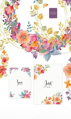 Floral Collection. Set of cute retro flowers. Hand drawn illustration and patters. Set of floral typography. It can be used as a design of greeting cards, posters, fabric, notebooks and so