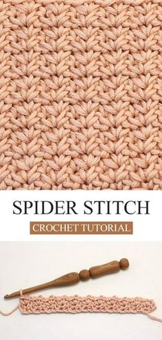 How To Crochet The Spider Stitch - Tricot Pontos Different Crochet Stitches, Crochet Stitches Patterns, Knitting Stitches, Stitch Patterns, Knitting Patterns, Afghan Patterns, Amigurumi Patterns, Knitting Needles, Crochet Crafts