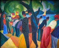 August Macke - Walk on the Bridge, 1913 at Lenbachhaus Art Gallery Munich Germany