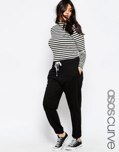 Image 1 of ASOS CURVE Sweat Pant with Contrast Tie