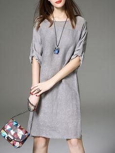 Shop Midi Dresses - Gray Slit Half Sleeve Crew Neck Silk Midi Dress online…