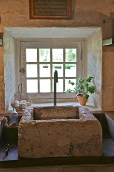 The sinks used to be water troughs for the animals via India Hicks