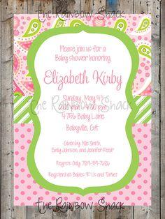 paisley baby shower invitation vera bradley by chevrondreams, Baby shower invitations