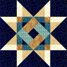 """Plaid Star 18"""" Block.  No special rulers, no paper piecing.  Step-by-step graphics in full color.:"""